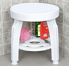 """Swivel Shower Stool Large, 16"""" diameter seat rotates 360 upports up to 300 lbs. Rustproof; mold and mildew resistant. Height adjusts 17""""-19"""".        $59.98     Sale: $49.98  Quantity      (9 reviews)     Check Availability      Enlarge Photo     View Video     Email a Friend     Add to Wish List  You May Also Like [F7301-1] Window Privacy Covering Window Privacy Covering $5.98 [C2951] Lotion Applicator Lotion Applicator $12.98 Sale: $9.98"""