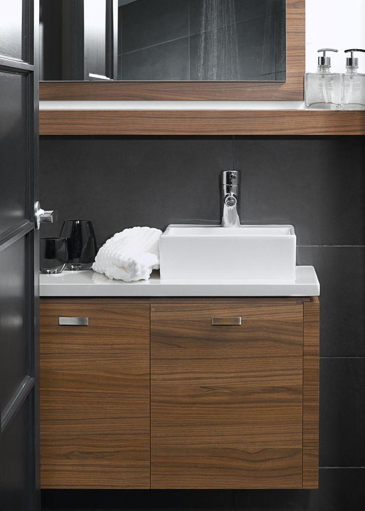 Salle de bain : ESPANA Vanité de salle de bain en mélamine Collection : Les Mélamines Modèle de portes : Moderne Couleur des portes : Cannelle Épicée Comptoir : Quartz Couleur : Pure White