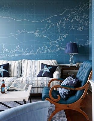 map on wall: Blue Rooms, Beaches Houses Decor, Living Rooms, Idea, Wall Maps, Color, Chairs, Beaches Inspiration, Houses Style