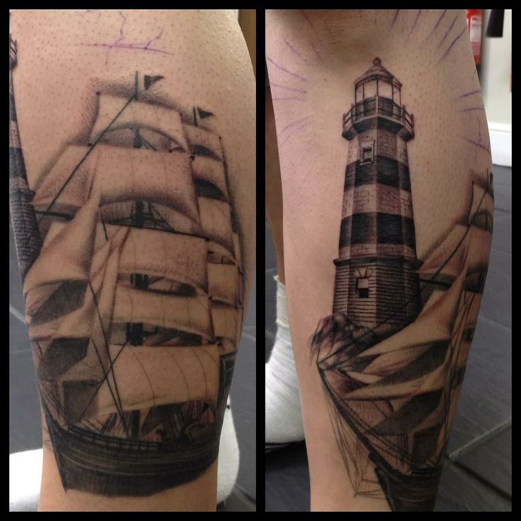 Ship And Lighthouse Tattoo By James Pool He Will Be