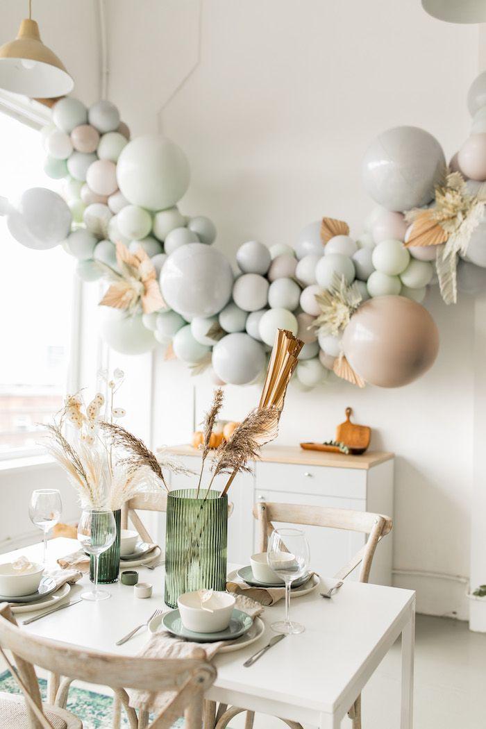 Harvest Themed Guest Table from a Monochromatic Boho Harvest Birthday Party on Kara's Party Ideas | KarasPartyIdeas.com (10)