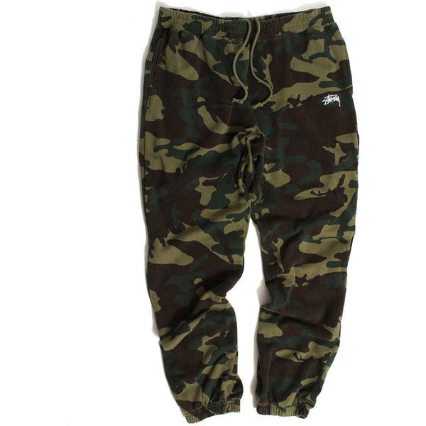 Stussy Basic Sweatpants Camo (€60) ❤ liked on Polyvore featuring activewear, activewear pants, stussy, camoflauge sweatpants, camo sweat pants, sweat pants and logo sportswear