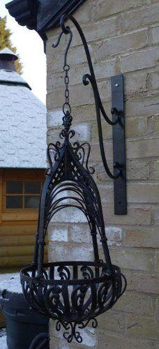 Black Wrought Iron Vintage Style Hanging Basket & Bracket ~ Small DID Ltd http://www.amazon.co.uk/dp/B00C09SFOM/ref=cm_sw_r_pi_dp_3232tb0W46F5433Q