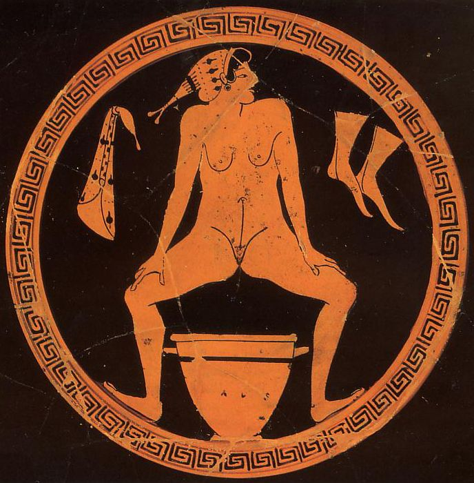 Hetaera urinating into a skyphos. Tondo of a red-figure kylix in the kind of the Foundry Painter, ca. 480 BC