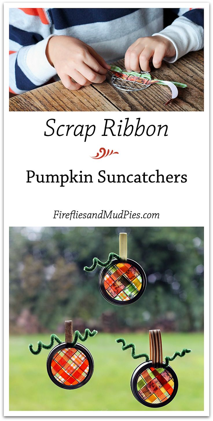 Scrap Ribbon Pumpkin Suncatcher Craft — Fireflies and Mud Pies. A adapter avec ce qu'on trouve en France