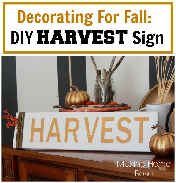 Fall Decorating DIY Harvest Sign