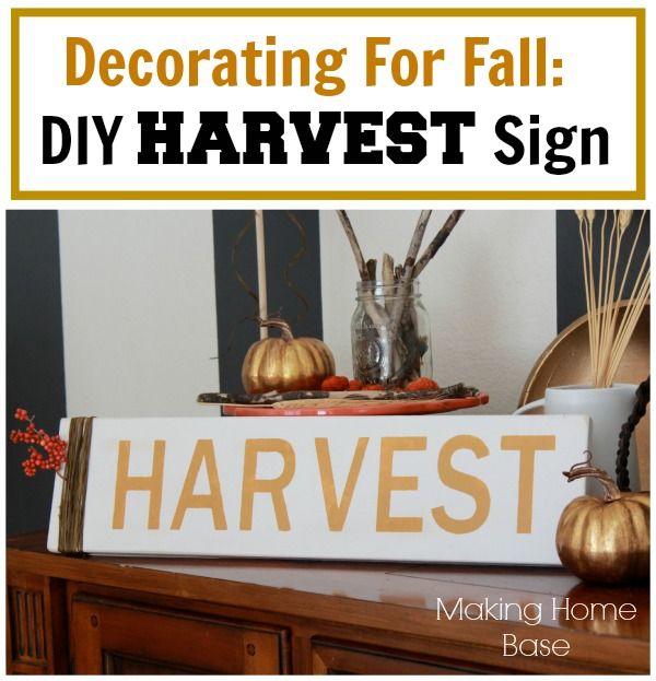 Fall Decorating DIY Harvest Sign