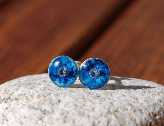 A piece of heaven Milky Way earrings blue stud by BalanceAtelier