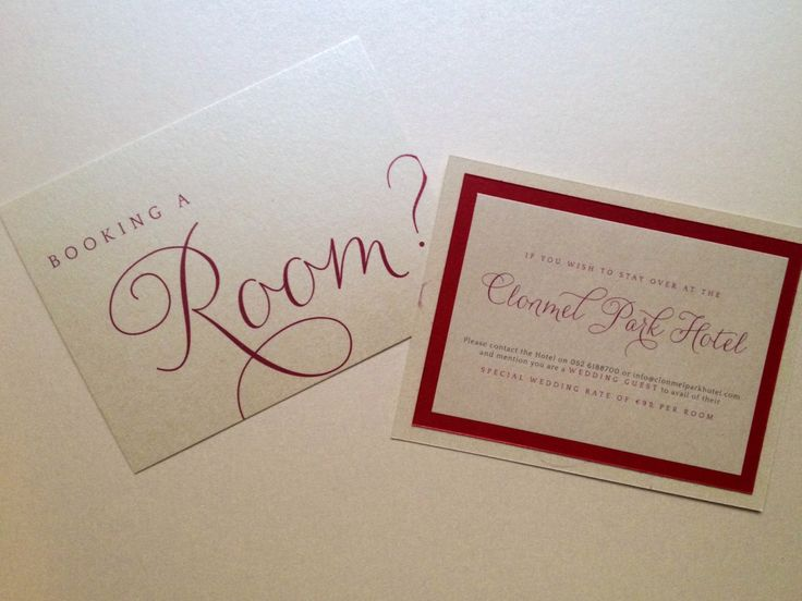 accommodation card red and ivory