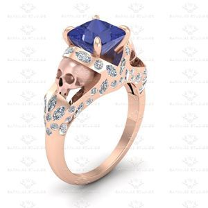 Show details for 'Le Reve' 2.20ct Princess cut Blue Sapphire and White Diamond Rose Gold Skull Engagement Ring