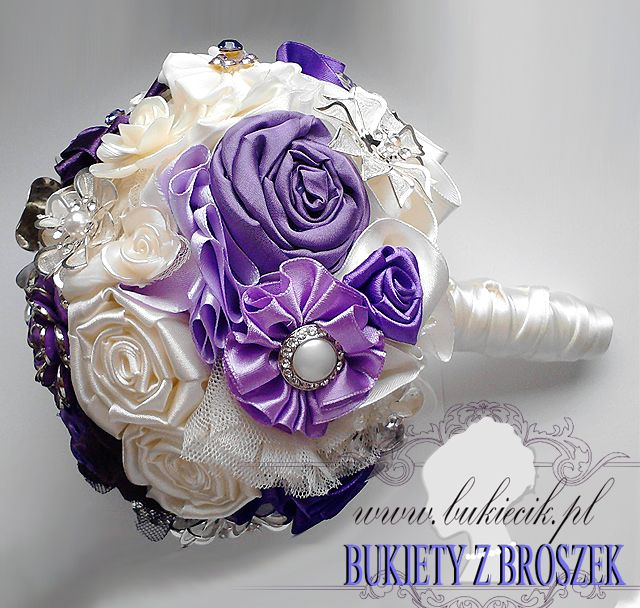 wiązanka ślubna opcja II bukiet z broszek i kwiatów z materiału