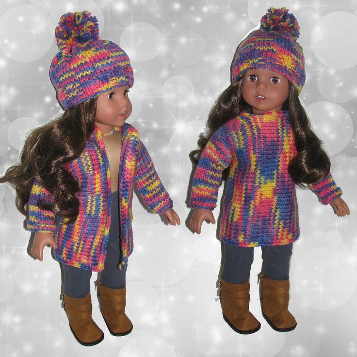 """Completo American Girl Doll 18""""//maglia multicolor//cappello pom pom//leggins denim//stivali//tessuti italiani//ag dolls// (4 pezzi) di RobysDollsFashion su Etsy"""
