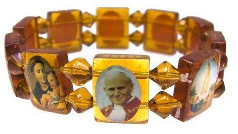 Bracelet Gourmette Verre Padre Pio Pape Jean Paul 2 Religieux Religion Jesus Christ Catholique Croix Crucifix Saint topt