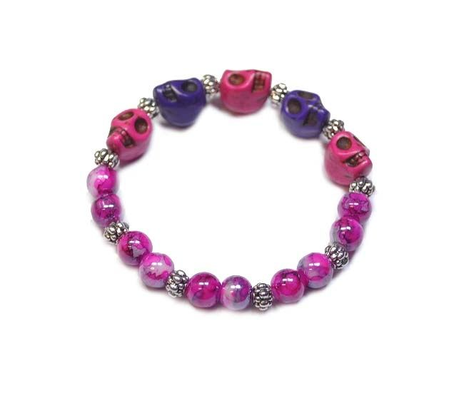 Armband skully gemeleerd | Halloween Sieraden | Beads Creations Kralen en Sieraden