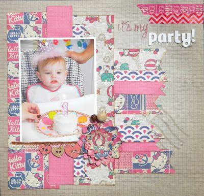 A Hello Kitty 1st birthday scrapbook layout