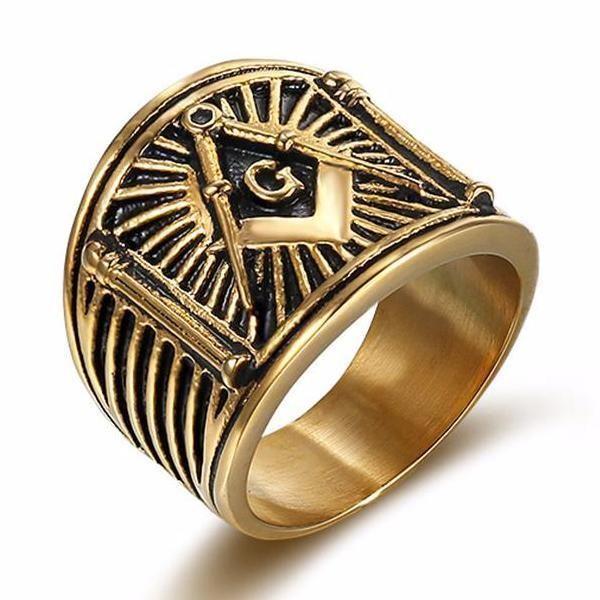 Square & Compass G Lodge Freemason Ring