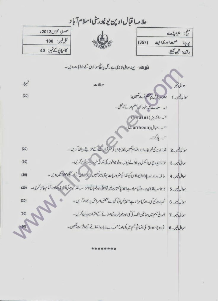 AIOU OLD Papers 357 Health and Nutrition Level