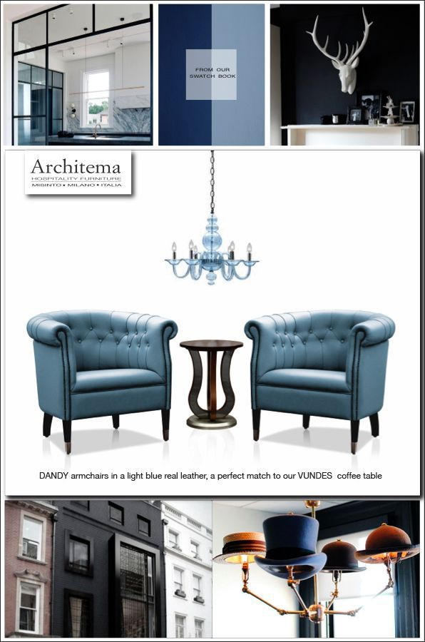 ARCHITEMA - DANDY armchairs upholstered in a light blue real leather, a perfect match to our VUNDES coffee table