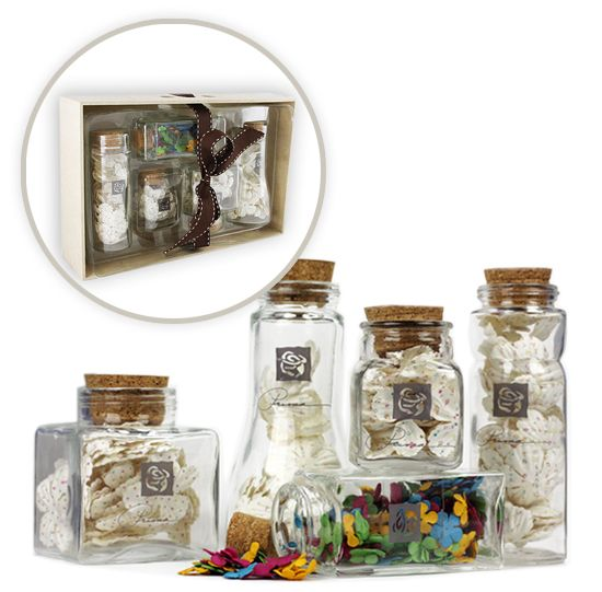 Prima - Special Edition - Apothecary Glass Jars of Mulberry Flowers in a Tray at Scrapbook.com $9.99