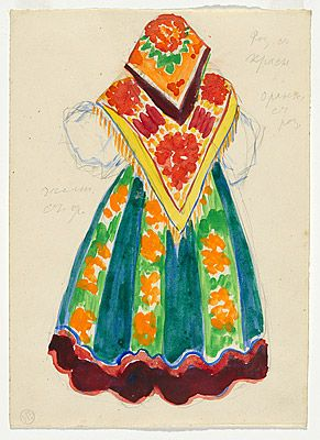 Natalia GONCHAROVA  (Russia 1881 – France 1962), Costume design for a peasant woman, back view, Ballets Russes,  c.1914.  gouache and pencil on paper, 25.2 (h) x 8.2 (w) cm