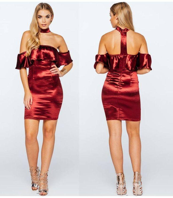 Chic σατέν μίνι φόρεμα με τσόκερ-wine