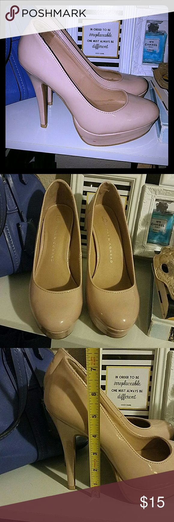 """Lauren Conrad Nude Patent Pumps Lauren Conrad """"Johanna"""" Pumps. Worn several times, they do have a few scuffs but they're still adorable! Versatile, ready to go for any outfit. LC Lauren Conrad Shoes Heels"""