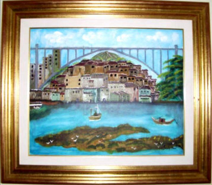 Invicta, Ponte Arrábida tendo como fundo o Palácio De Cristal.   Uma das primeiras obras da pintora Adelaide Moça  Pintado a óleo sobre tela.   Tamanho: 50*60 com Moldura 82,50*72,50 cm