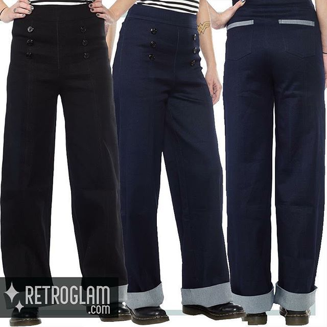 Ahoy there! Keep the retro look and stay warm with the new #Sourpuss Sailor Pants ... they come in blue and black #sailorpants #sailorpant #rowenaedmonton #retroglamclothing #retrostyle #retroglam #highwaistedpants #cutepants #19