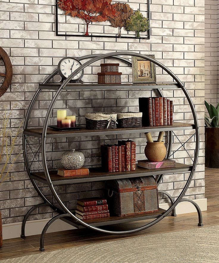 Take a look at this Deshca Metal & Wood Round Bookshelf today!