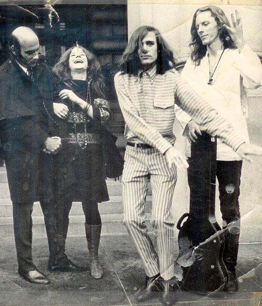 1967 Janis Joplin and two members of Big Brother and the Holding Company (Peter Albin and James Gurley) with Richard Lester.