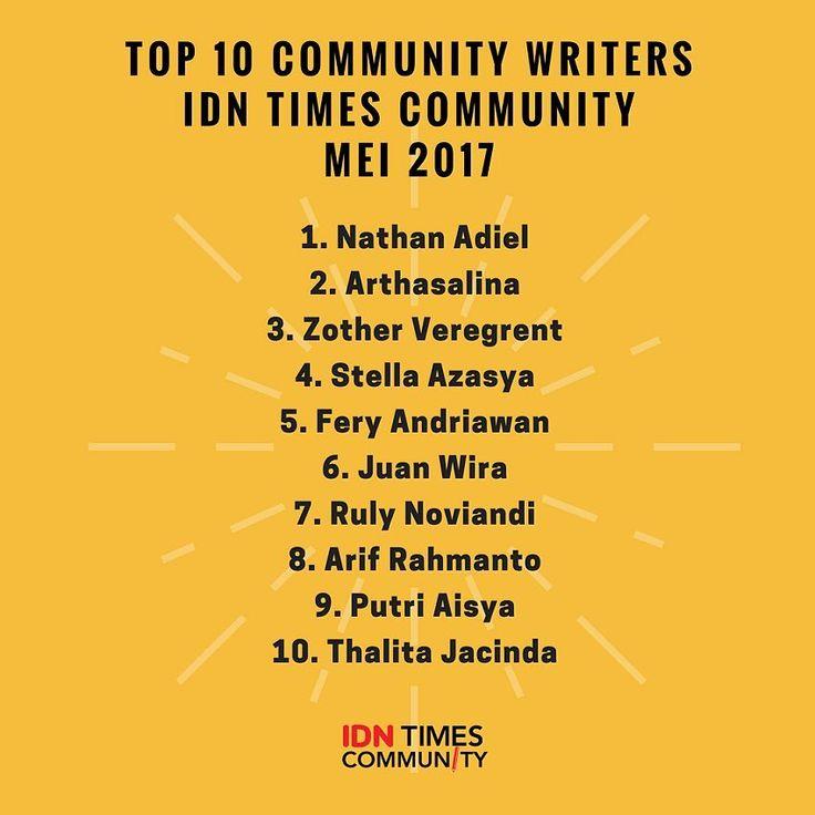 Selamat ya buat community writers yang berhasil masuk daftar Top 10 community writers IDN Times Community! Terus berkarya dan menginspirasi anak-anak muda Indonesia! . . . #IDNTimesCommunity #IDNtimes #IDNmedia #lombanulis #menulis #kompetisimenulis #writing #penulis #community #lomba #kompetisi