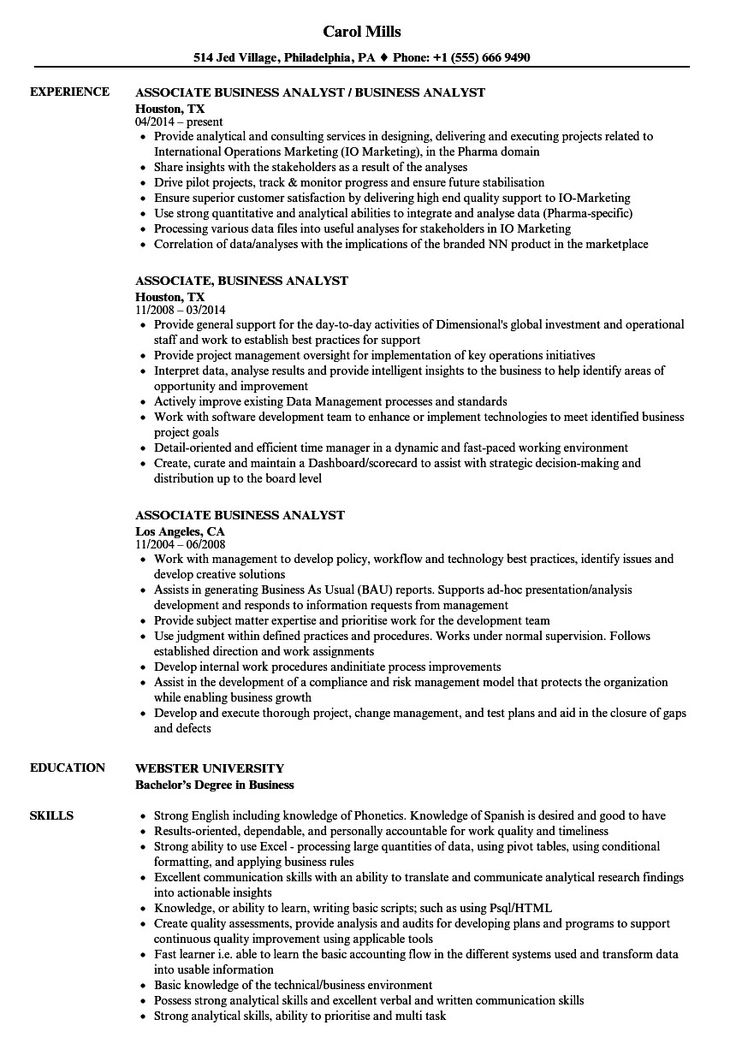 Business analyst resume examples associate business