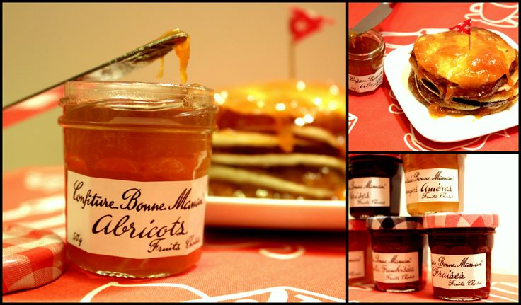 Playing with fluffy pancakes and Bonne Maman jams.
