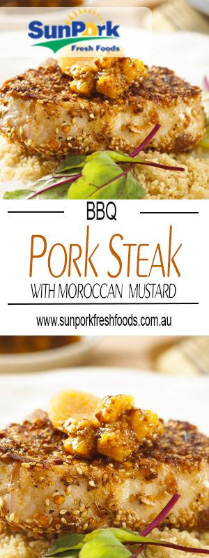 Yummy pork steaks with Moroccan Mustard! No one will be able to resist this scrumptious Moroccan inspired dish!