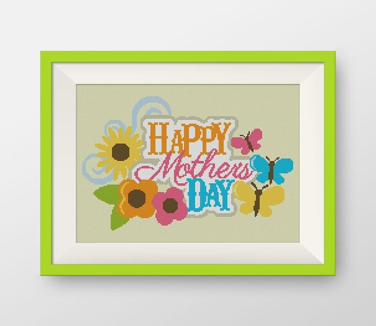 Happy mother's day Cross Stitch Pattern, PDF counted cross stitch pattern,  P101 by NataliNeedlework on Etsy