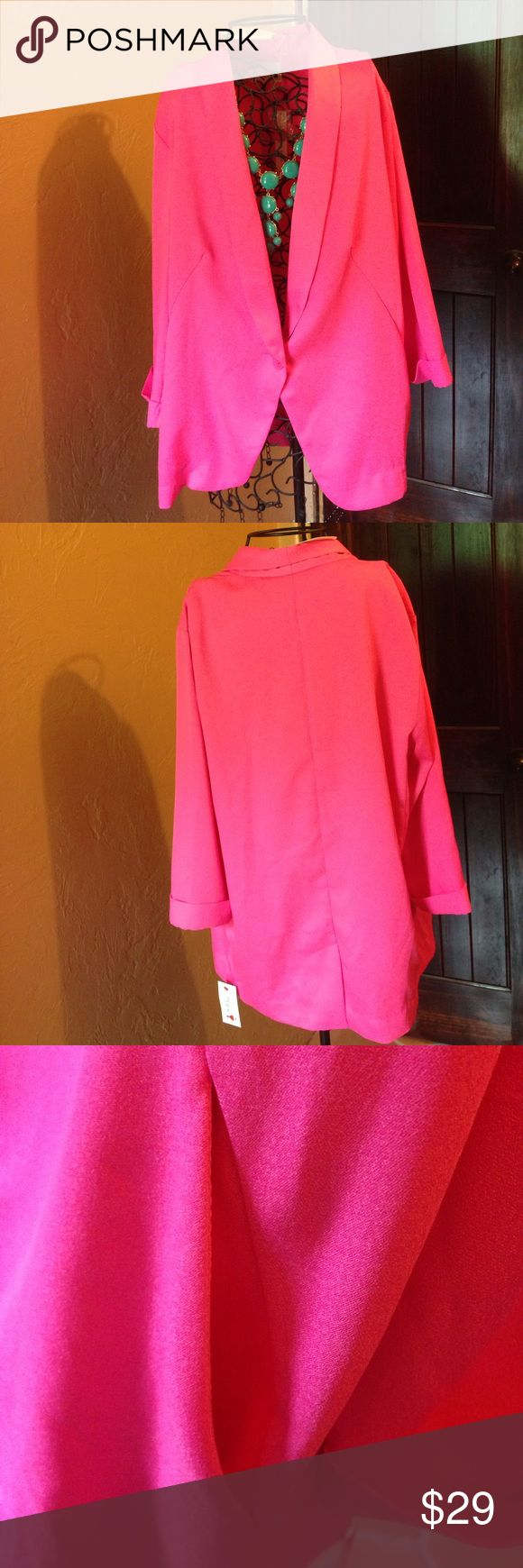 """NWT Mustard Seed Hot Pink Blazer NWT Mustard Seed hot pink flowy blazer. Size large. Fits loose. Paired with a pair of jeans 👖. Measurements: chest laying flat 24""""/length 28""""/shoulder to shoulder 18.5""""/ sleeve 19"""". New with tag. Mustard Seed Jackets & Coats Blazers"""