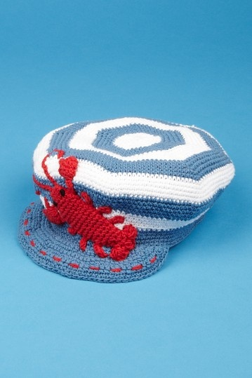 Crocheted Lobster Hat from San Diego Hat Company. LOVE.