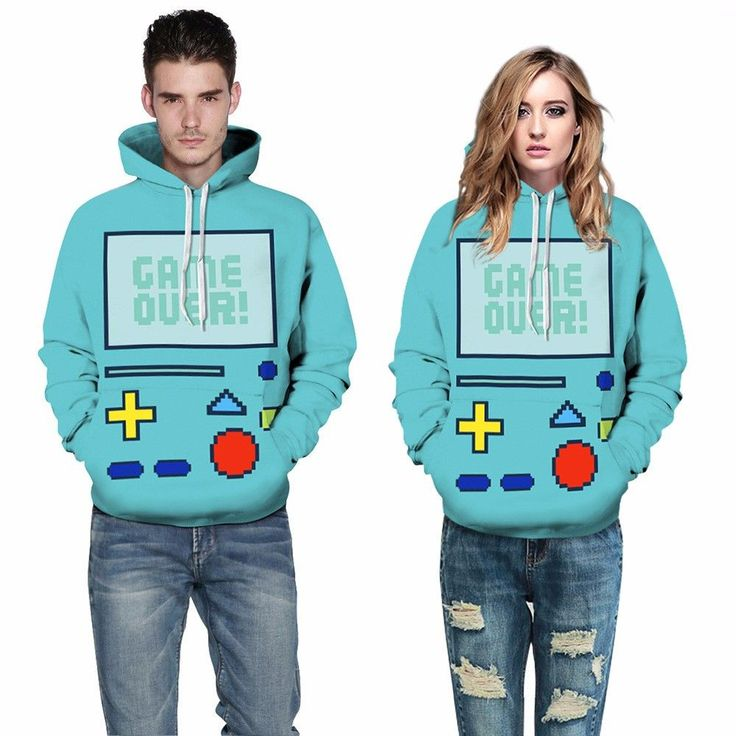 """The perfect hoodie for any cool gamer. It is made to look like BMO from the hit cartoon series Adventure time! It says """"game over"""" on the screen and is in a lovely mint blue color! This hoodie has a h"""