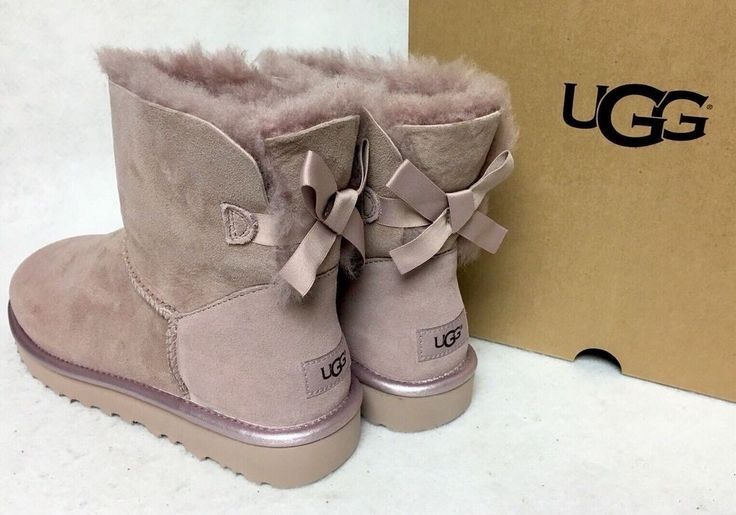 UGG MINI BAILEY BOW II METALLIC BOOTS DUSK PINK SIZE 7 BRAND NEW | Clothing, Shoes & Accessories, Women's Shoes, Boots | eBay!
