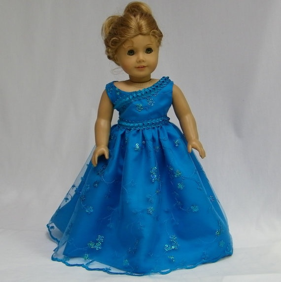 Deep Aqua Blue Formal for American Girl dolls by juliascreations, $30.00