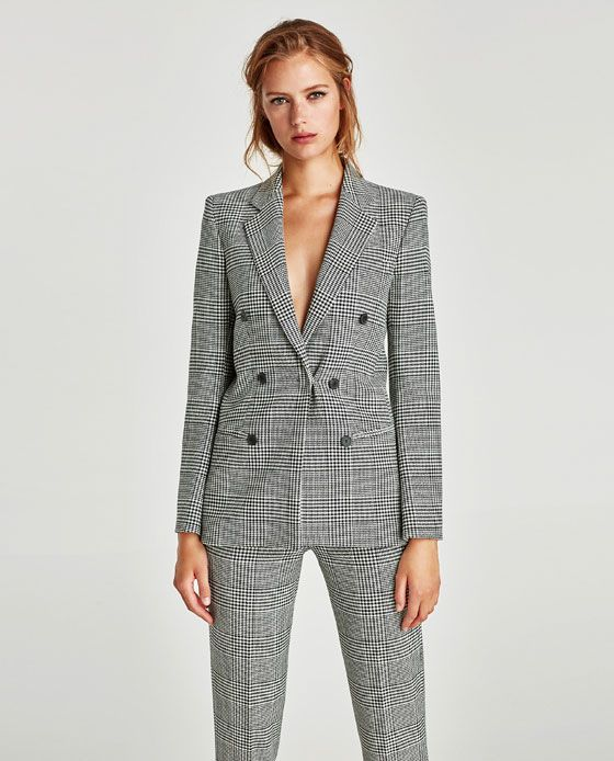Image 2 of CHECKED DOUBLE-BREASTED JACKET from Zara