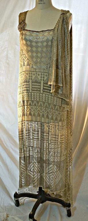 Antique vtg 20s Assuit evening dress, gold metallic, Art Deco, Egyptomania M-L #GoldDress