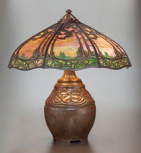 1910 handel metal over glass bronze sunset lamp