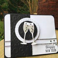 card wine glass champagne new year - nytårskort