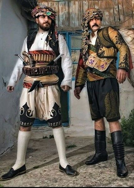 (Recent copies of) traditional costumes of folk militia from the Aydın province. Style: ca. 1900.