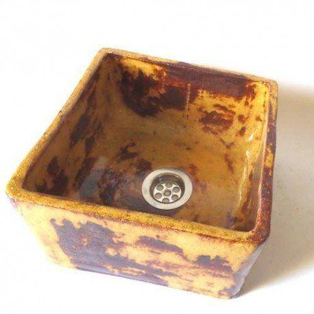 ceramic washbowl- amber- coloured square
