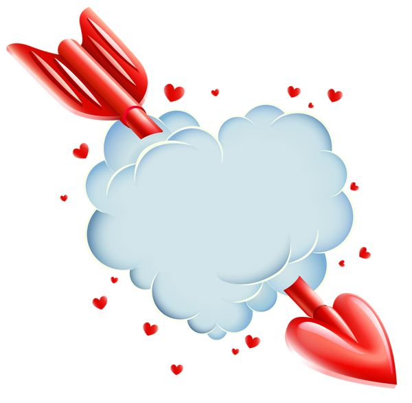 Valentine's Day Cloud Heart With Arrow Transparent PNG