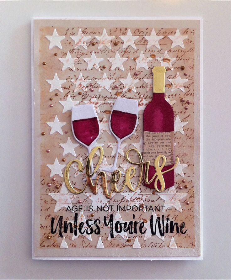 Card bottle glass glasses wine MFT Wine service Die-namics, MFT Cheers Die-namics scripty words and letters, MFT Uncorked stamp set #mftstamps, Tim Holtz stencil stars, script stamp distress ink liquid pearl - JKE