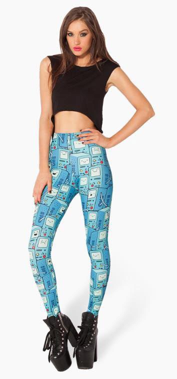 Leggings Beemo. Hora de Aventura Preciosos leggings con la imagen de Beemo en color azul basado en la popular serie de Tv Hora de Aventura.