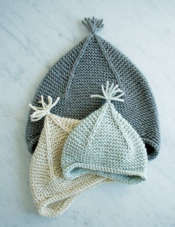 """The """"Garter Ear Flap"""" knitted hat pattern, free from Purl Soho. Available in multiple sizes."""